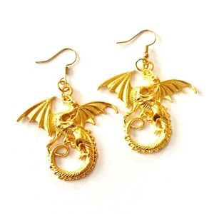 Gold dragon earrings